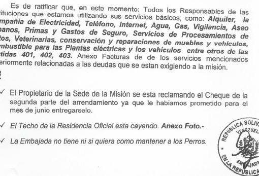 La crisis de Venezuela llega a las embajadas: «El techo se cae y no tenemos ni para mantener a los perros»